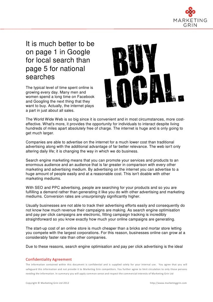 It is much better to beon page 1 in Googlefor local search thanpage 5 for nationalsearchesThe typical level of time spent ...