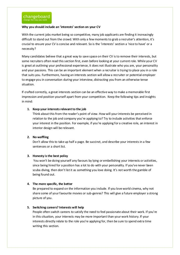 Personal Interest Resume,Skills and Interests Awards and other ...