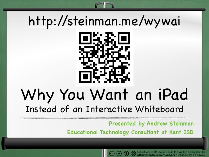 http://steinman.me/wywaiWhy You Want an iPadInstead of an Interactive Whiteboard                        Presented by Andre...