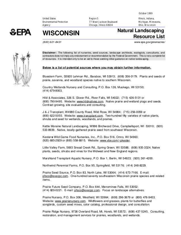 Wisconsin Greenacres: Natural Landscaping Resource List