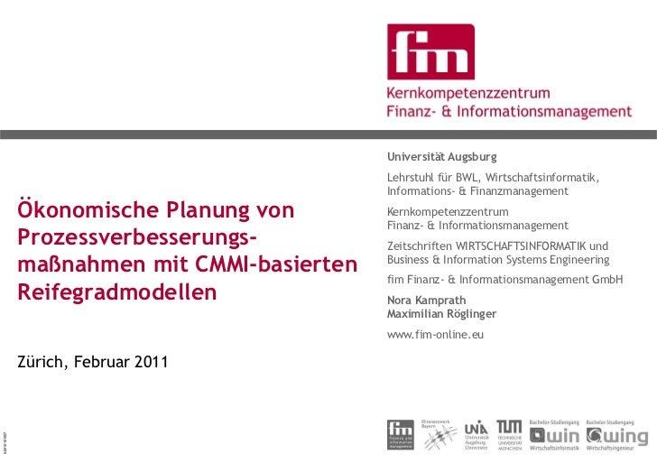Ökonomische Planung von Prozessverbesserungsmaßnahmen - Ein modelltheoretischer Ansatz auf Grundlage CMMI-basierter Prozessreifegradmodelle