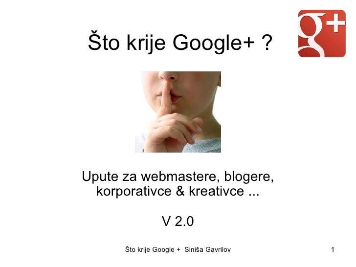 Što krije Google+ ?Upute za webmastere, blogere,  korporativce & kreativce ...                  V 2.0      Što krije Googl...
