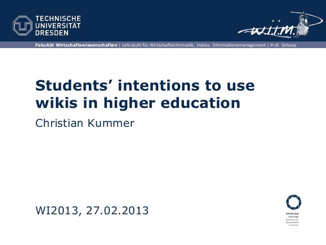 Students' intentions to use wikis in higher education