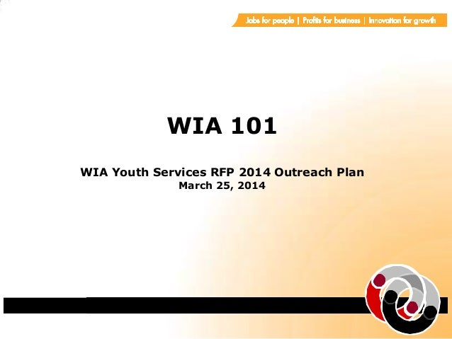 WIA 101 WIA Youth Services RFP 2014 Outreach Plan March 25, 2014