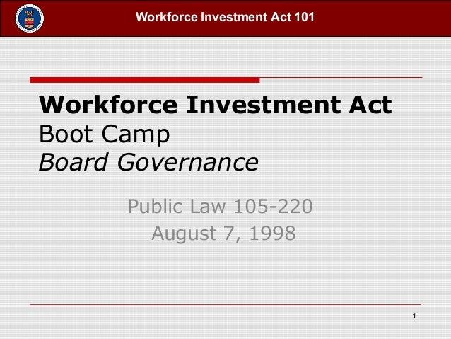 Workforce Investment Act 101Workforce Investment ActBoot CampBoard GovernancePublic Law 105-220August 7, 19981