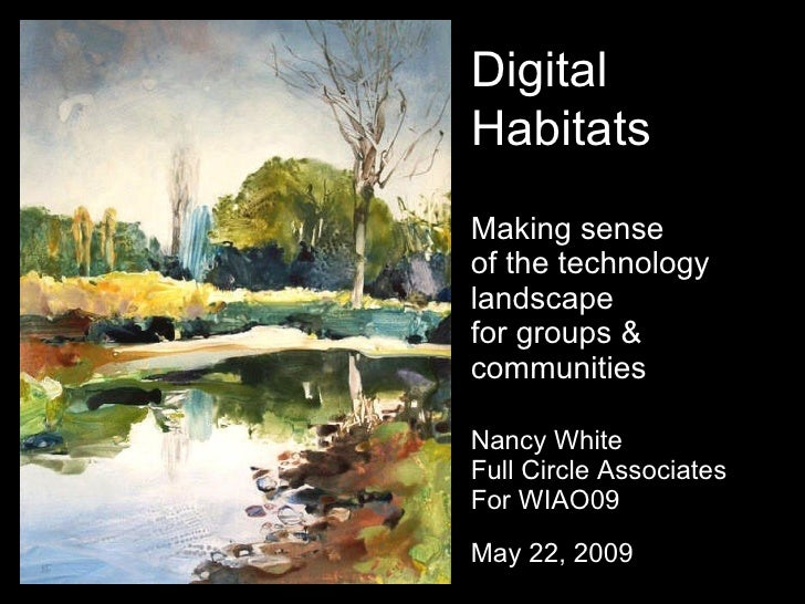 Digital Habitats Making sense of the technology landscape for groups & communities  Nancy White Full Circle Associates For...