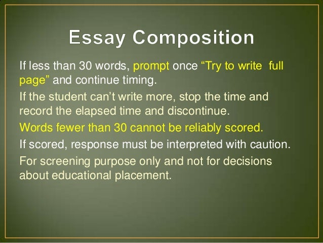 scoring the wiat-iii essay composition Composition wiat-iii: scoring the essay composition this webinar will focus on one component of the wiat-iii: the essay composition during the hour-and-a-half long.