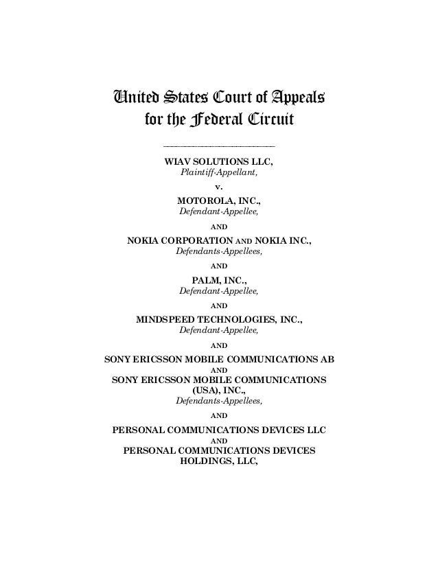 Wiav solutions v. motorola  Meaning of exclusive licensee  Exclusive licensee of 7 patents relating to signal transmission & data encoding decoding owned by Mindspeed technologies