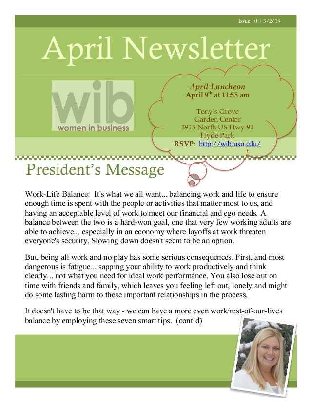 Issue 10 | 3/2/13     April Newsletter                                                  April Luncheon                    ...