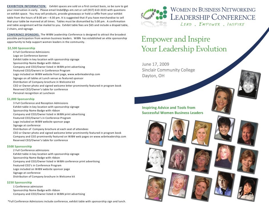 Women in Business Leadership Conference Brouchure