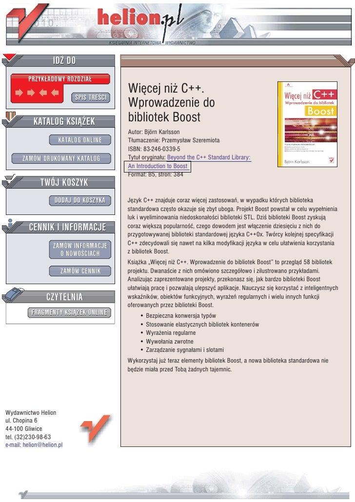 IDZ DO          PRZYK£ADOWY ROZDZIA£                                          Wiêcej ni¿ C++.                            S...