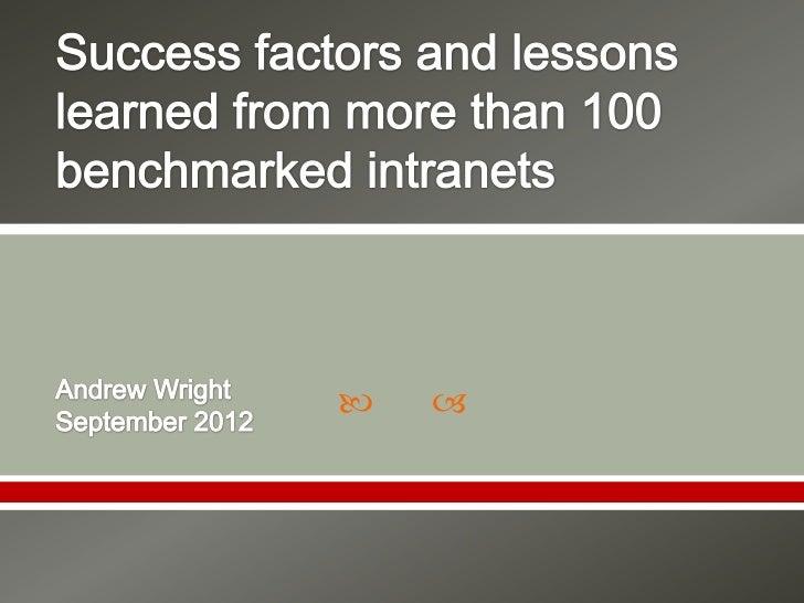 WIC Intranet Success Factors