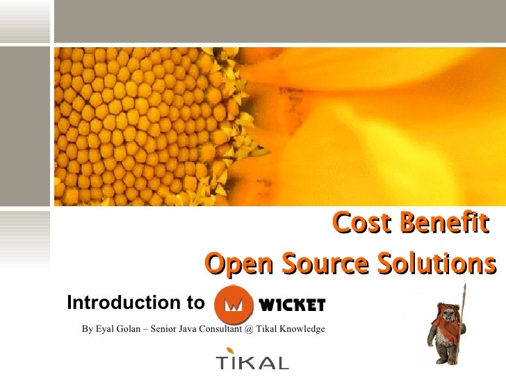 Cost Benefit  Open Source Solutions By Eyal Golan – Senior Java Consultant @ Tikal Knowledge Introduction to