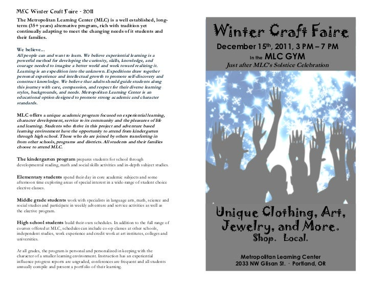 MLC Winter Craft Faire - 2011The Metropolitan Learning Center (MLC) is a well established, long-                          ...