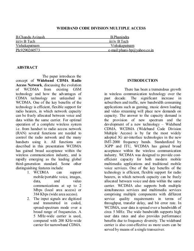 WIDEBAND CODE DIVISION MULTIPLE ACCESS B.Chandu Avinash B.Phanindra iii/iv B Tech iii/iv B Tech Vishakapatnam Vishakapatna...