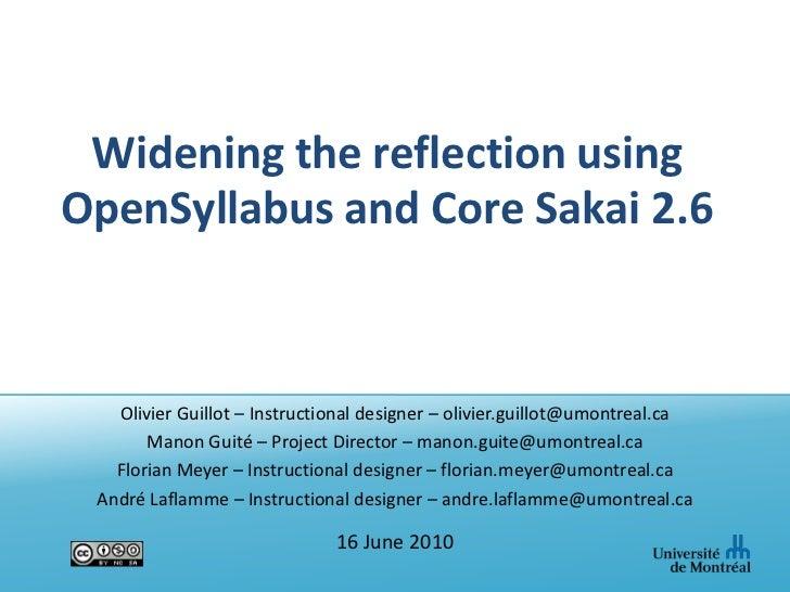 Widening the reflection using OpenSyllabus and Core Sakai 2.6