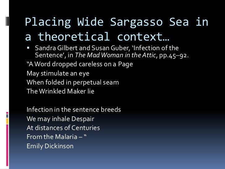 wide sargasso sea thesis Narrative voice in jane eyre and wide sargasso sea literal and figurative slavery in antoinette's relationships from speech to silence.