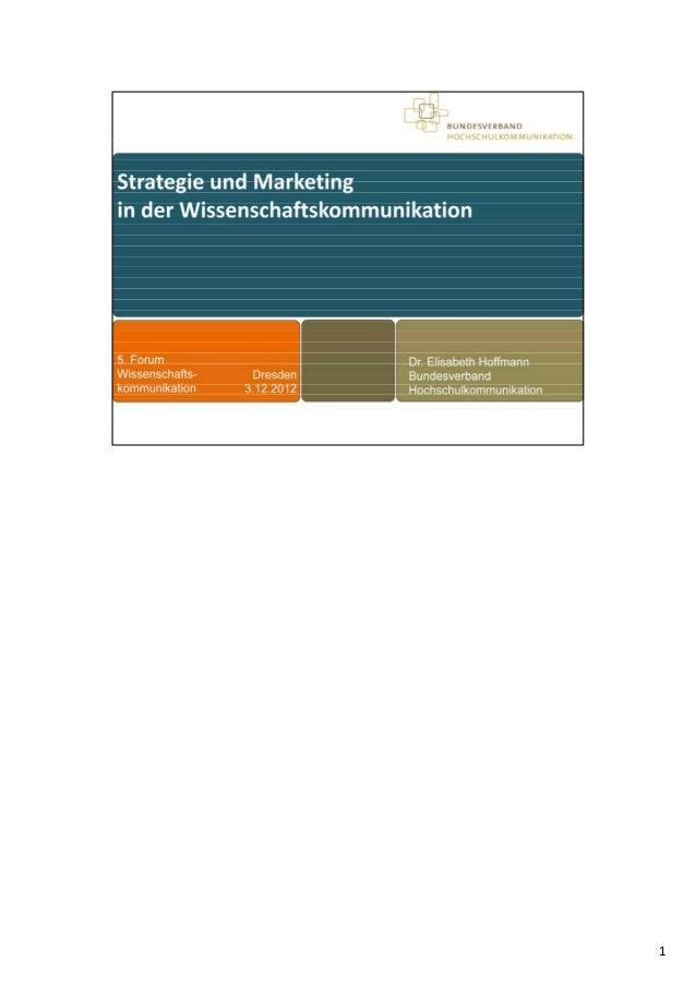 """WiD-Forum """"Strategie und Marketing in der Wissenschaftskommunikation"""""""