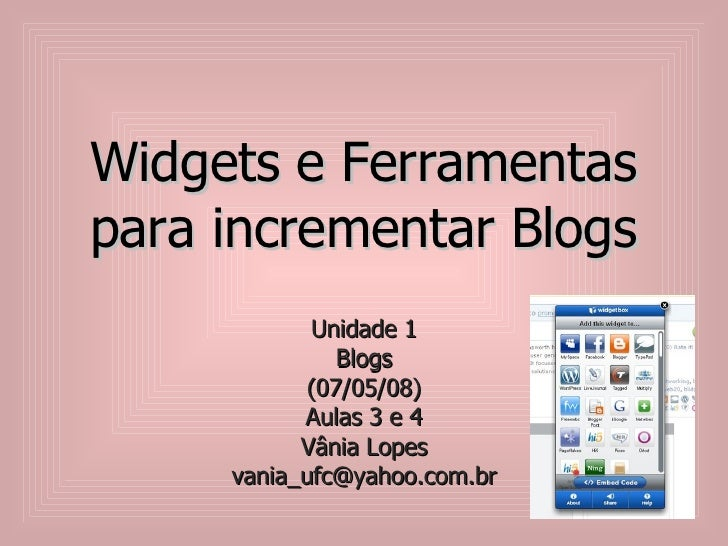 Widgets E Ferramentas Para Incrementar Blogs