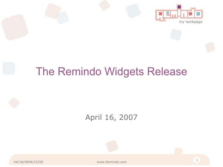 Remindo Gadgets Release