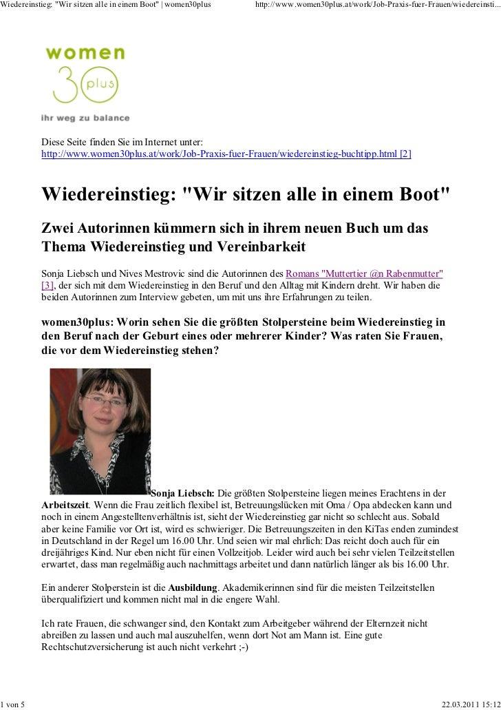Wiedereinstieg  wir sitzen alle in einem boot  www.women30plus.at muttertier @n rabenmutter sonja liebsch und nives mestrovic