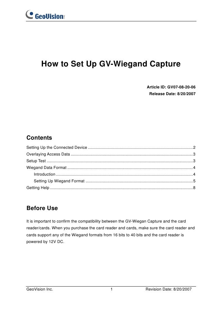 How to Set Up GV-Wiegand Capture                                                                                          ...