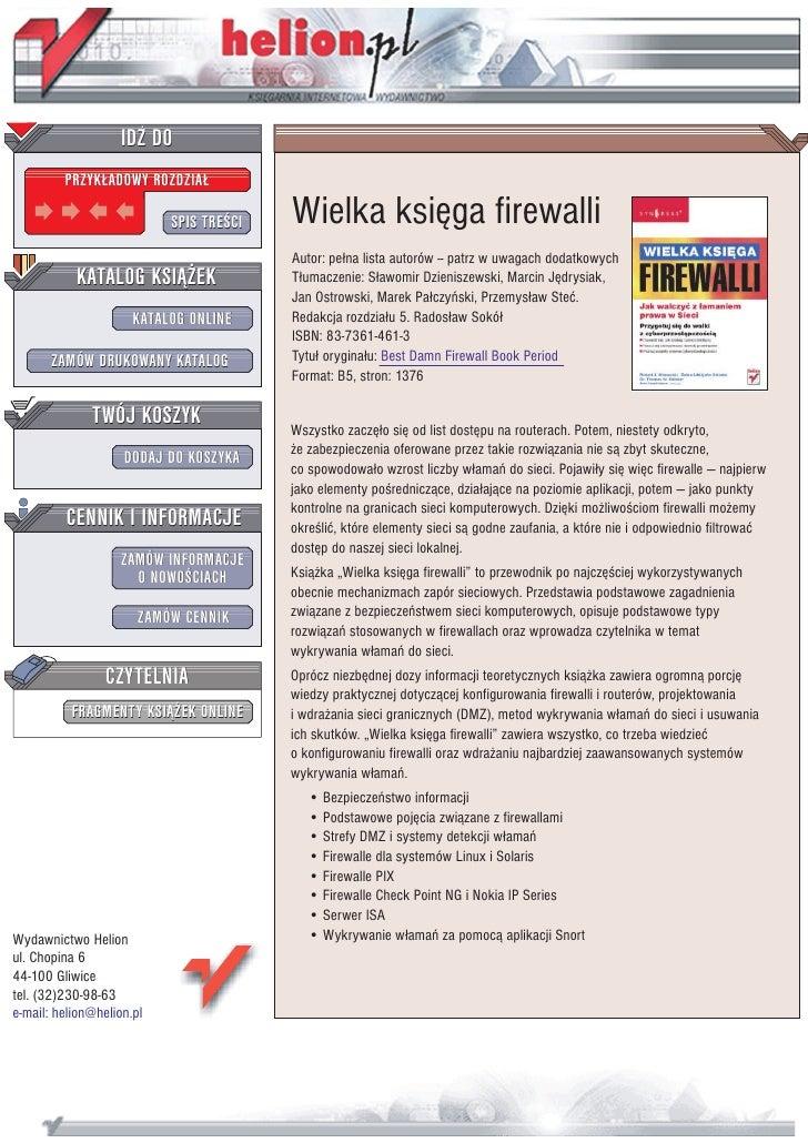 IDZ DO          PRZYK£ADOWY ROZDZIA£                             SPIS TRE CI   Wielka ksiêga firewalli                    ...