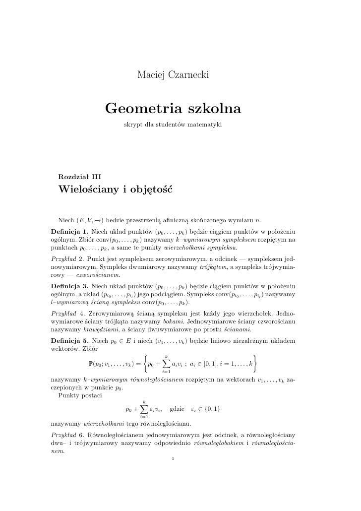 Maciej Czarnecki                         Geometria szkolna                                 skrypt dla studentów matematyki...