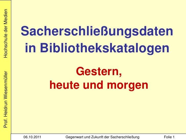 Wiesenmueller sacherschliessung in bibliothekskatalogen