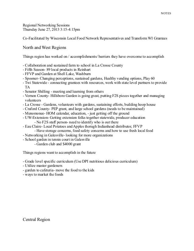 NOTES Regional Networking Sessions Thursday June 27, 2013 3:15-4:15pm Co-Facilitated by Wisconsin Local Food Network Repre...