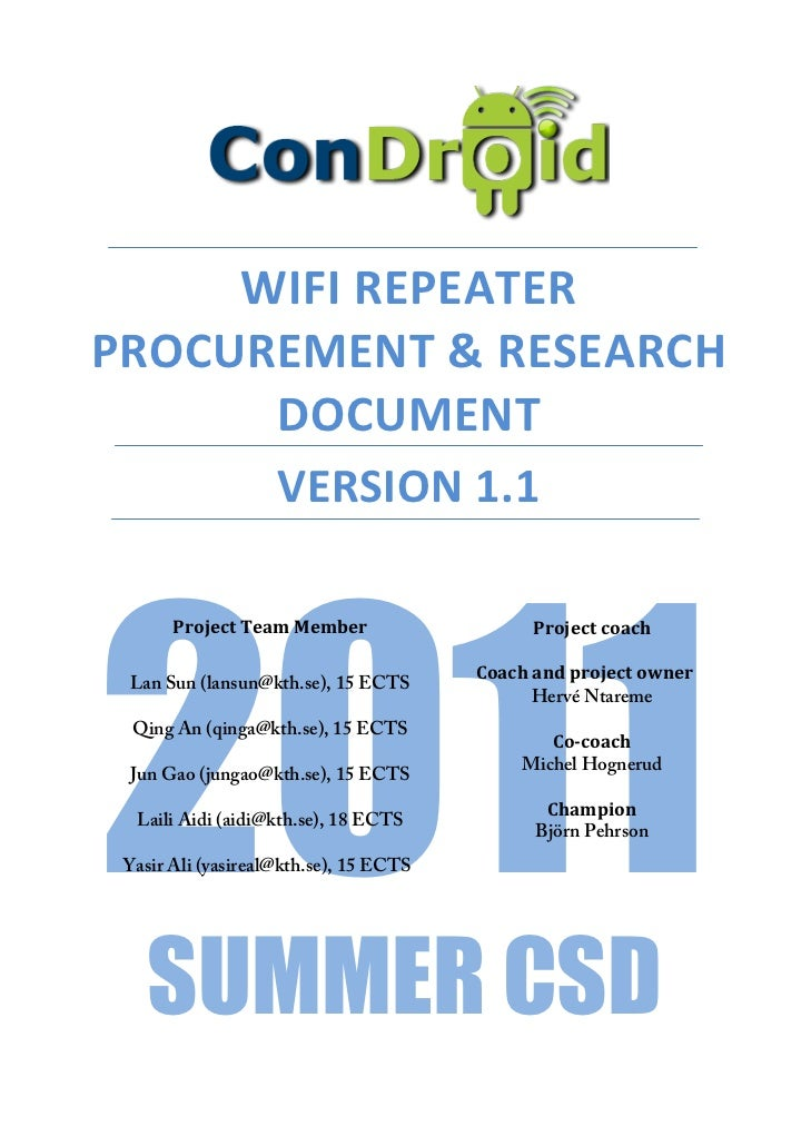 Condroid Remote Management - WiFi Repeater Purchasing & Research document
