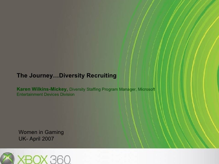 The Journey…Diversity Recruiting Karen Wilkins-Mickey,  Diversity Staffing Program Manager, Microsoft Entertainment Device...
