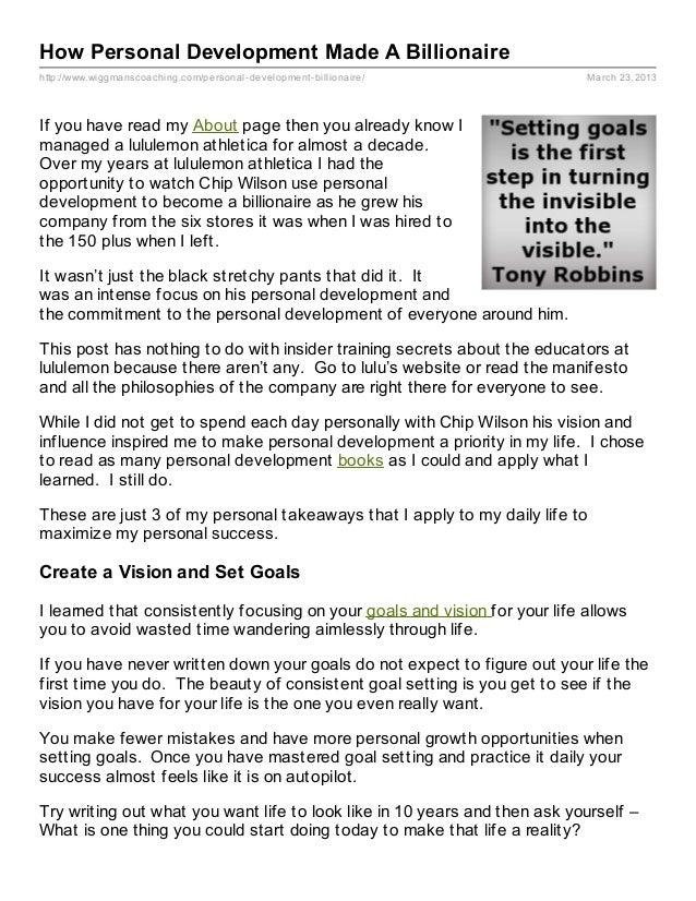 How Personal Development Made A Billionairehttp://www.wiggmanscoaching.com/personal- development- billionaire/         Mar...