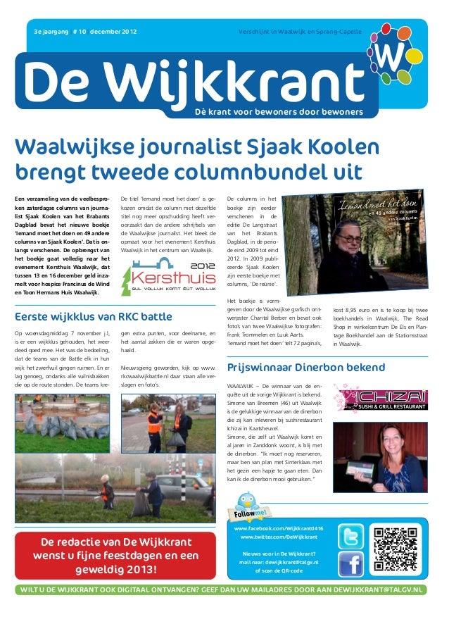 DE WIJKKRANT       3e jaargang   # 10   december 2012                                                                    ...