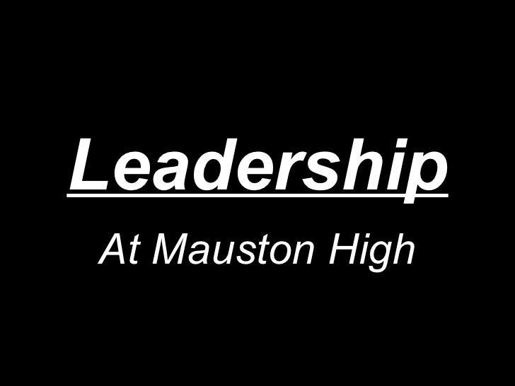 Leadership At Mauston High