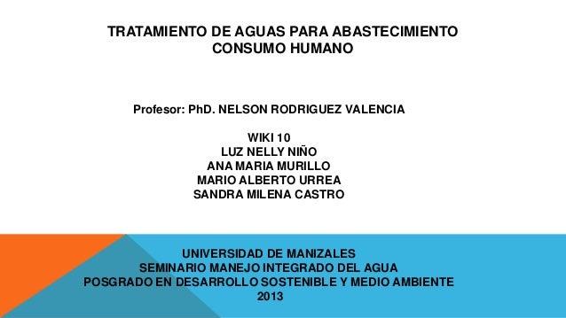 TRATAMIENTO DE AGUAS PARA ABASTECIMIENTO CONSUMO HUMANO  Profesor: PhD. NELSON RODRIGUEZ VALENCIA  WIKI 10 LUZ NELLY NIÑO ...