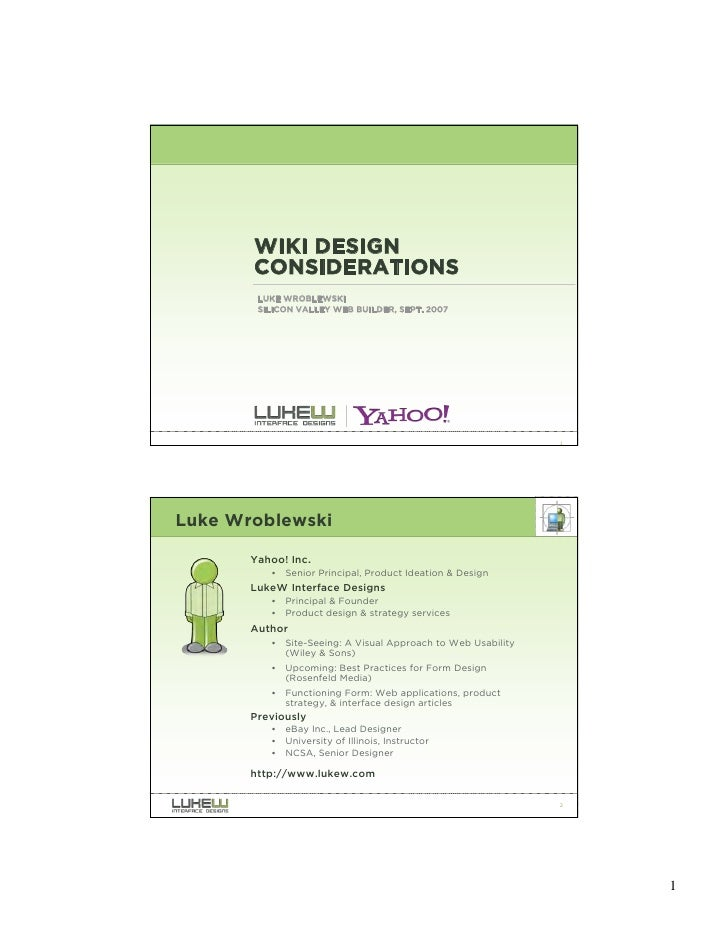 Wiki Design Considerations