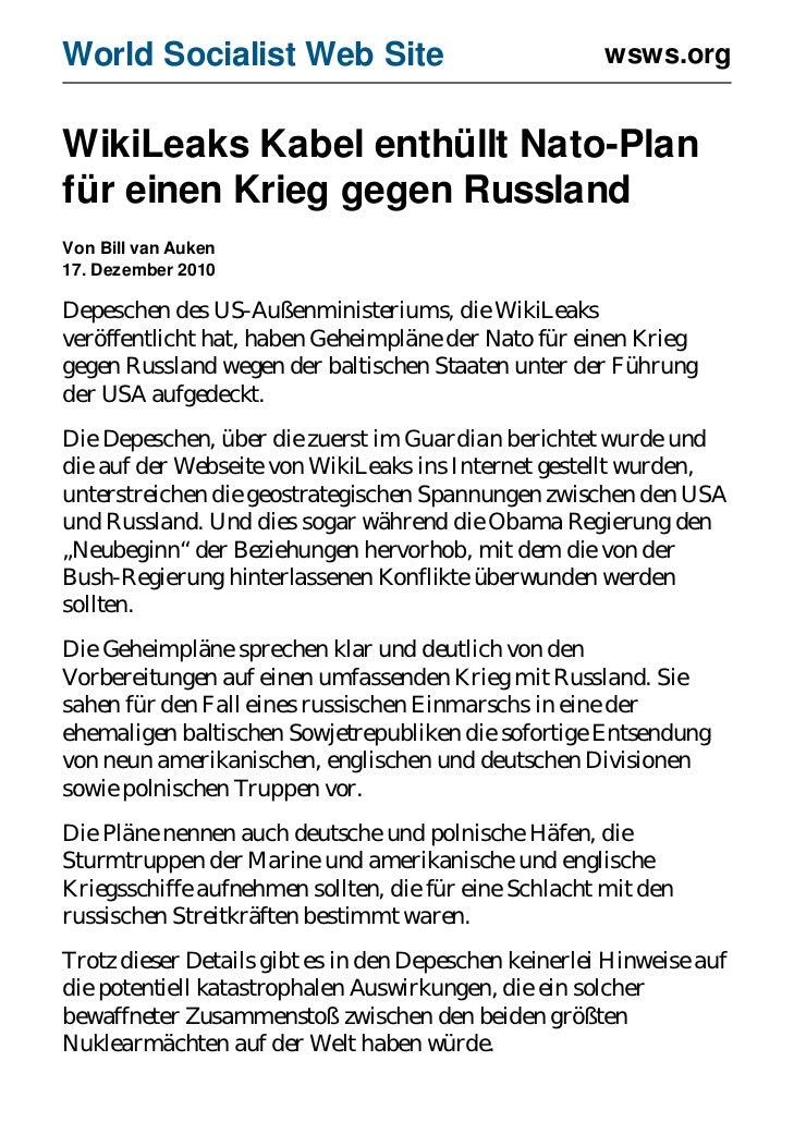 World Socialist Web Site                               wsws.orgWikiLeaks Kabel enthüllt Nato-Planfür einen Krieg gegen Rus...