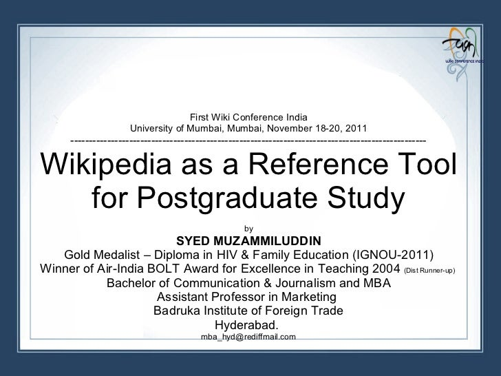 First Wiki Conference India University of Mumbai, Mumbai, November 18-20, 2011 -------------------------------------------...