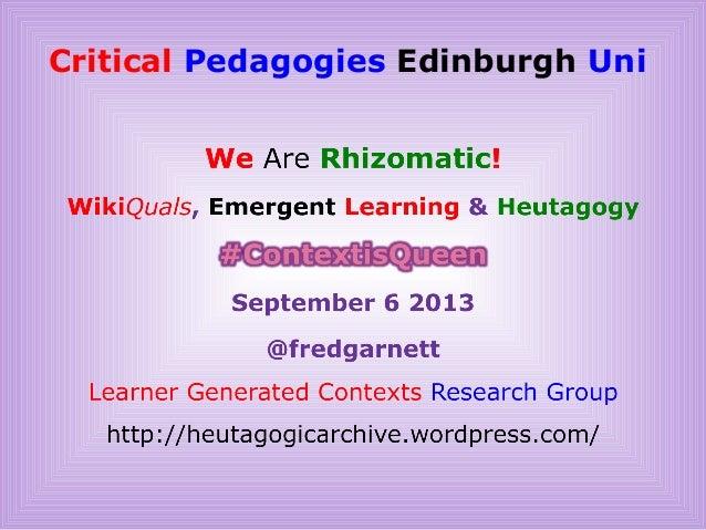 Critical Pedagogies Edinburgh Uni