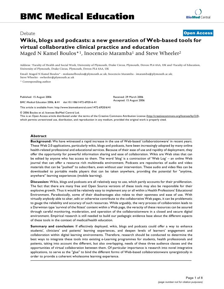 Wikis, Blogs & Podcasts In BMJ