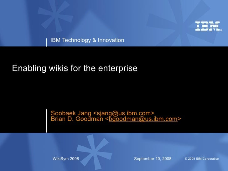 Enabling Wikis For The Enterprise