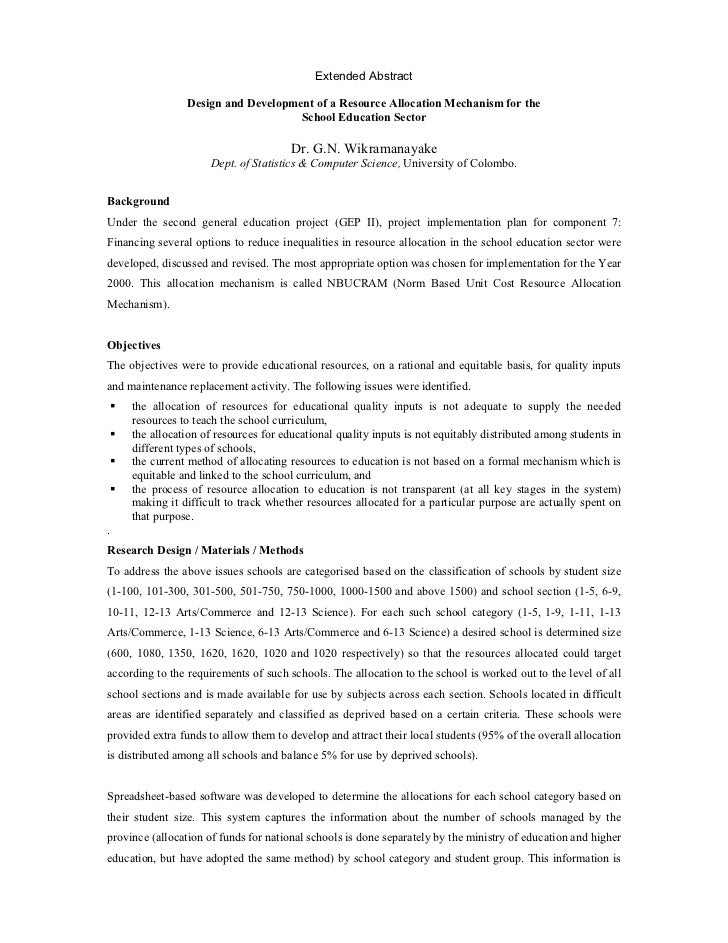 Design and Development of a Resource Allocation Mechanism for the School Education Sector