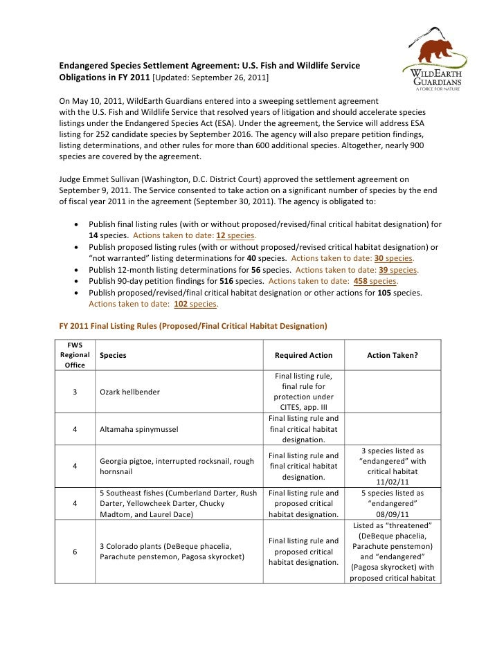 Endangered Species Settlement Agreement: U.S. Fish and Wildlife ServiceObligations in FY 2011 [Updated: September 26, 2011...