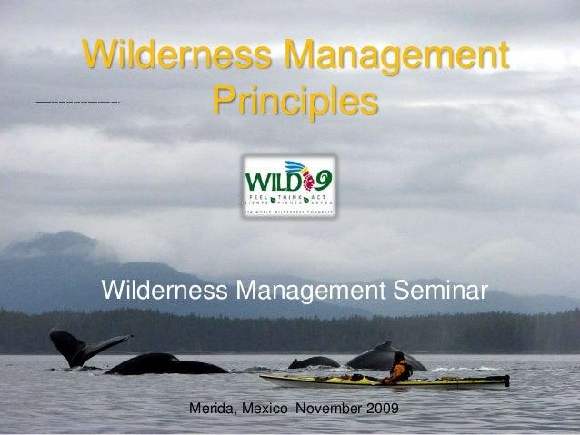 Wilderness Management Principles