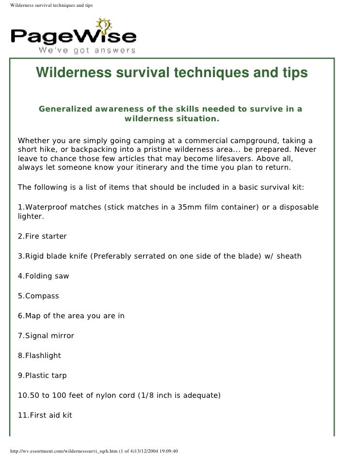 Wilderness Survival Techniques And Tips