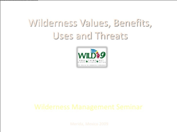 Wilderness Values, Benefits, Uses and Threats<br />Wilderness Management Seminar<br />Merida, Mexico 2009 <br />