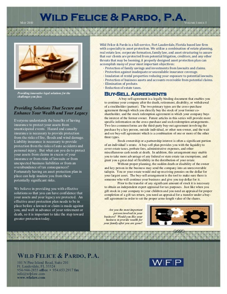 Wild Felice and Pardo, Estate Planning and Asset Protection Newsletter, May 2010