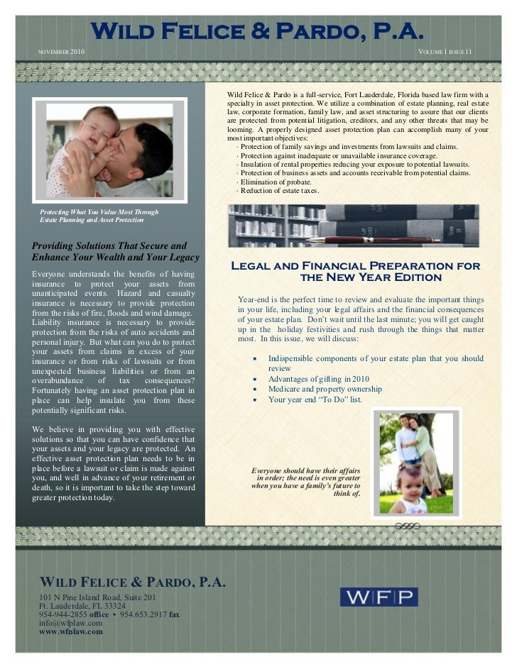 Wild felice and pardo estate planning and asset protection newsletternovember 2010