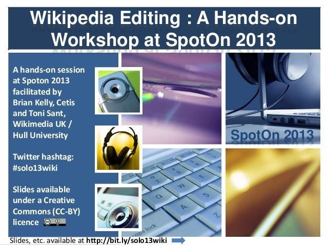 Wikipedia workshop, SpotOn 2013 Conference